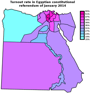 Map: Egypt 2014 constitutional referendum - Turnout by governorate