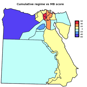 "Egypt: ""regime vs MB"" score by governorate [Map]"