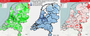 2014 local elections results for D66 and the SP compared to a map of income variation by municipality