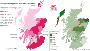 Map: Scottish independence referendum vs SNP vote in 2010 UK elections
