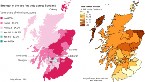 Map: Scottish independence referendum vs SNP vote in 2011 Scottish elections