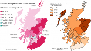 Map: Scottish independence referendum vs SNP vote in 2011 Scottish elections by council area