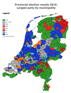 Election map, the Netherlands, provincial elections 2015